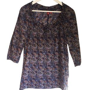 EDC by Esprit sz XS boho tunic style womens top 3/4 sleeves blue cream floral